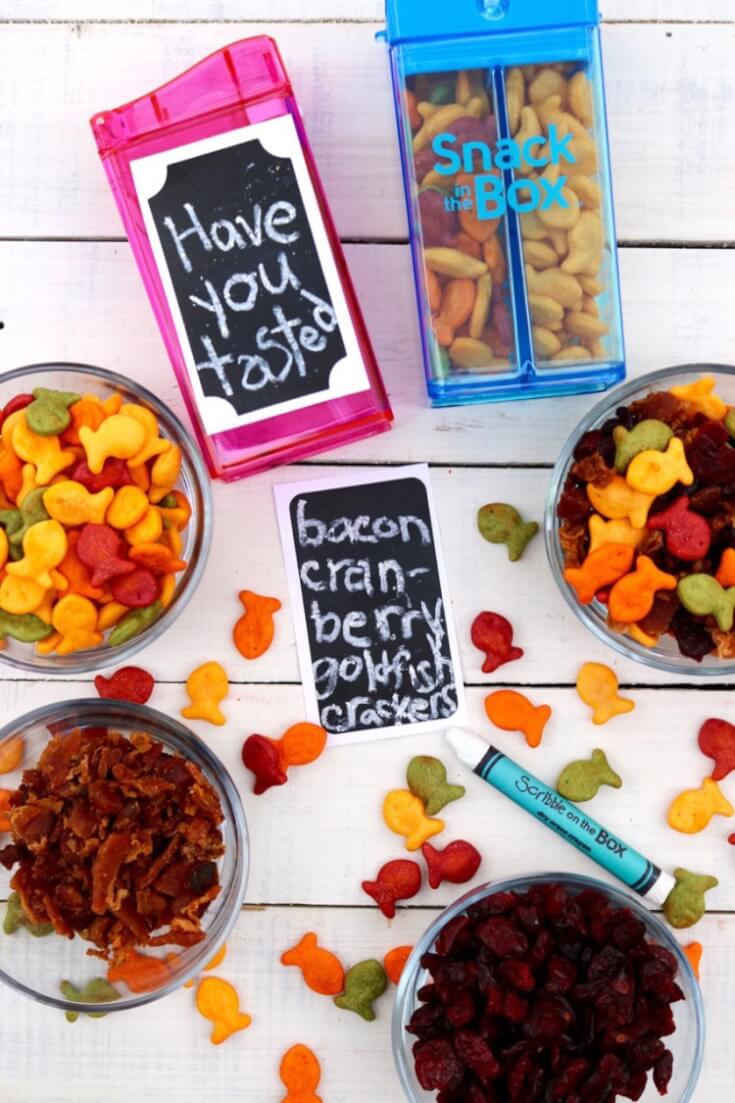Have you tasted? Bacon Cranberry Goldfish Crackers - a sweet and salty snack!
