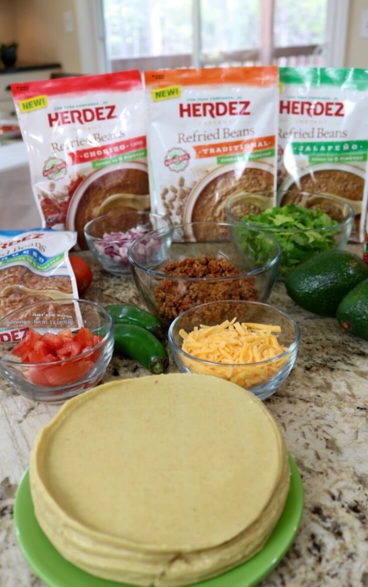 Ingredients for homemade Chorizo Mexican Refried Bean Tacos