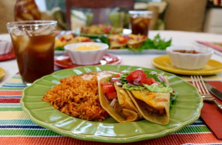 A smoky Mexican meal for family night! Chorizo Refried Bean Tacos