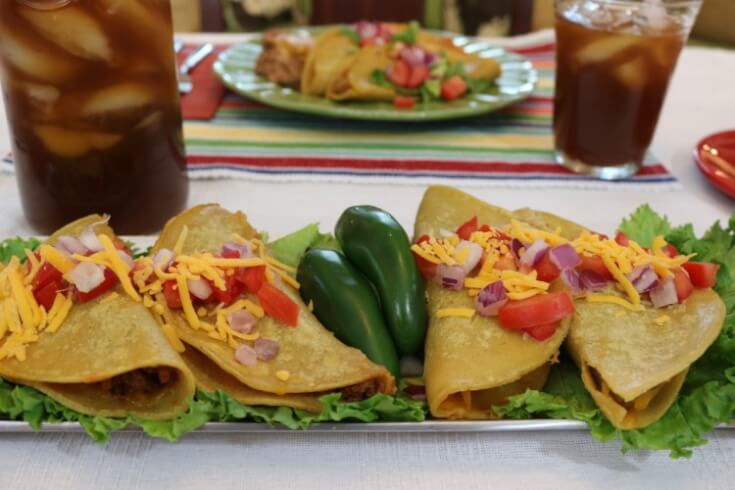 A smoky Mexican meal for family dinner! Chorizo Refried Bean Tacos