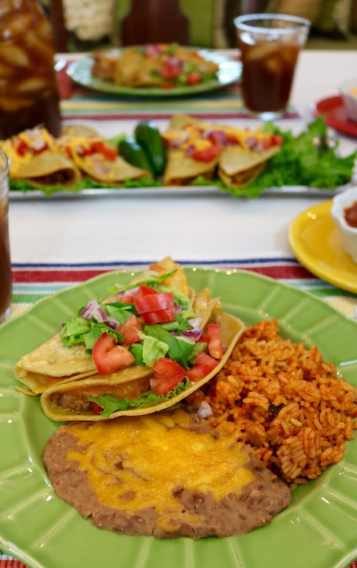 A savory Mexican meal for family night! Chorizo Refried Bean Tacos