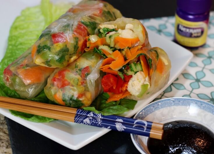 vietnamese-spring-roll-with-chicken-and-vegetables-and-Nexium-to-reduce-heartburn