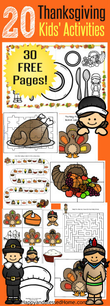 30-free-pages-20-thanksgiving-kids-activities-including-coloring-puzzles-matching-hats-and-placemat