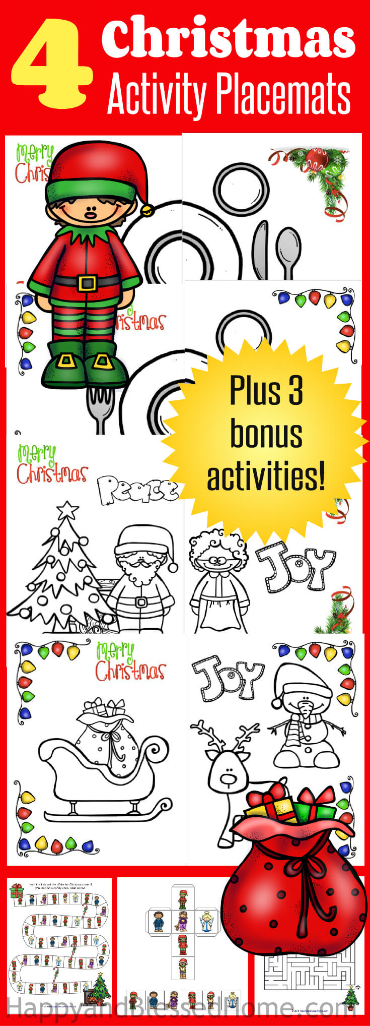 Christmas Placemats Activity Pack from HappyandBlessedHome.com