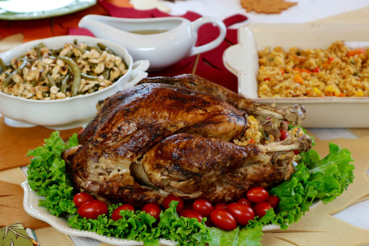 A welcoming holiday feast with Mexican Corn Bread Stuffing with Jalapeños Recipe