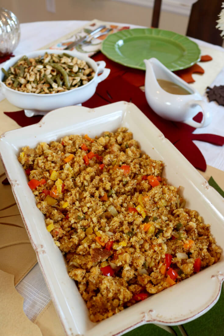Enough to serve eight - Mexican Corn Bread Stuffing with Jalapeños Recipe