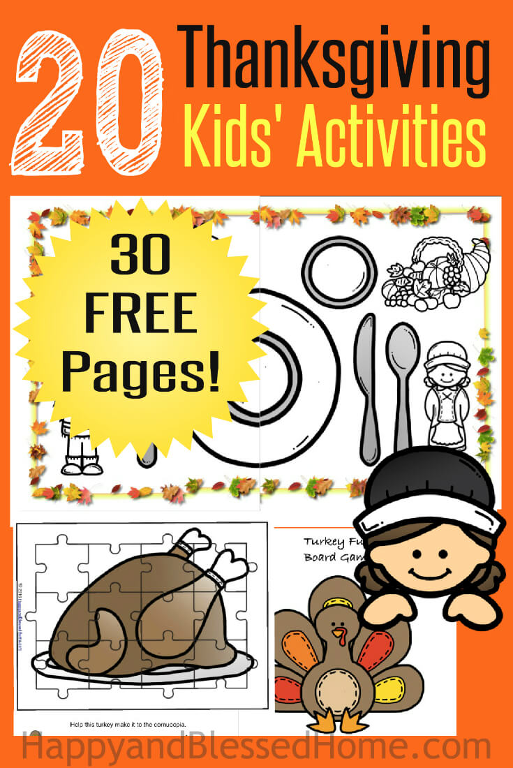 10 Sources For Fun Amp Free Thanksgiving Printables For Kids Mary Martha Mama