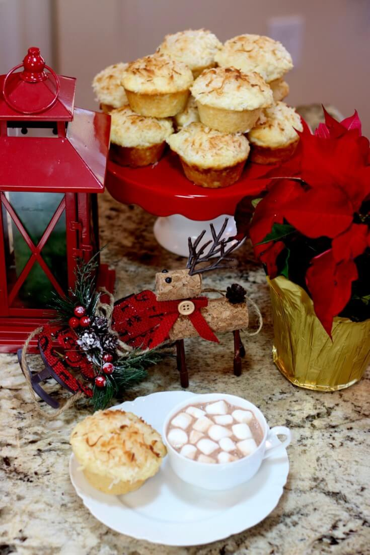 Easy Recipe for Lemon Coconut Muffins turned into edible holiday decor
