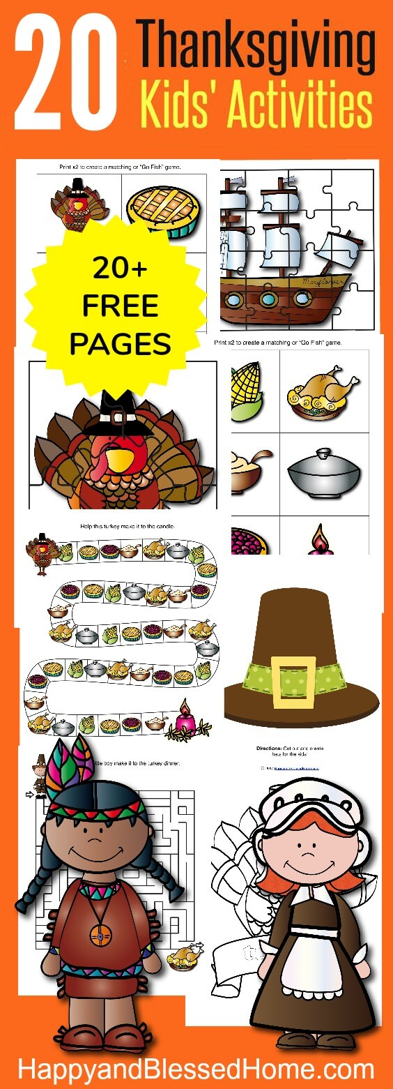 Over 20 FREE Pages Thanksgiving Kids Activities