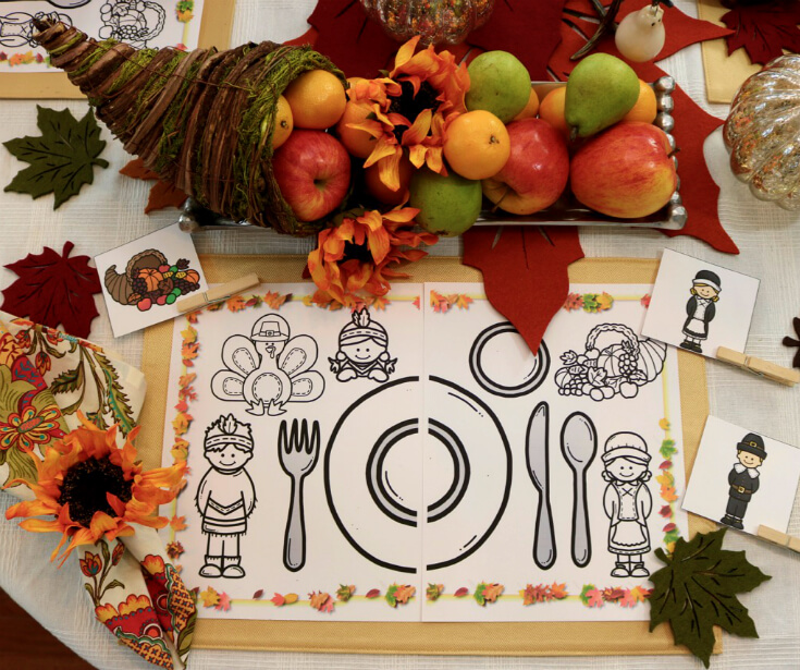 Thanksgiving Activity Placemat for Kids
