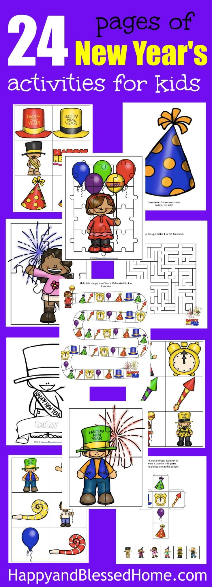 "This FREE New Year's Activity Pack for Kids includes over a dozen fun activities for kids. A great idea to DIY your own New Year's party fun! 4 Puzzle Pages, 8 Coloring Pages, 4 Hats, 1 New Year's themed Board Game with matching Dice, 1 Maze, 24 Flashcards for a Matching, and a ""Go Fish"" or memory game."