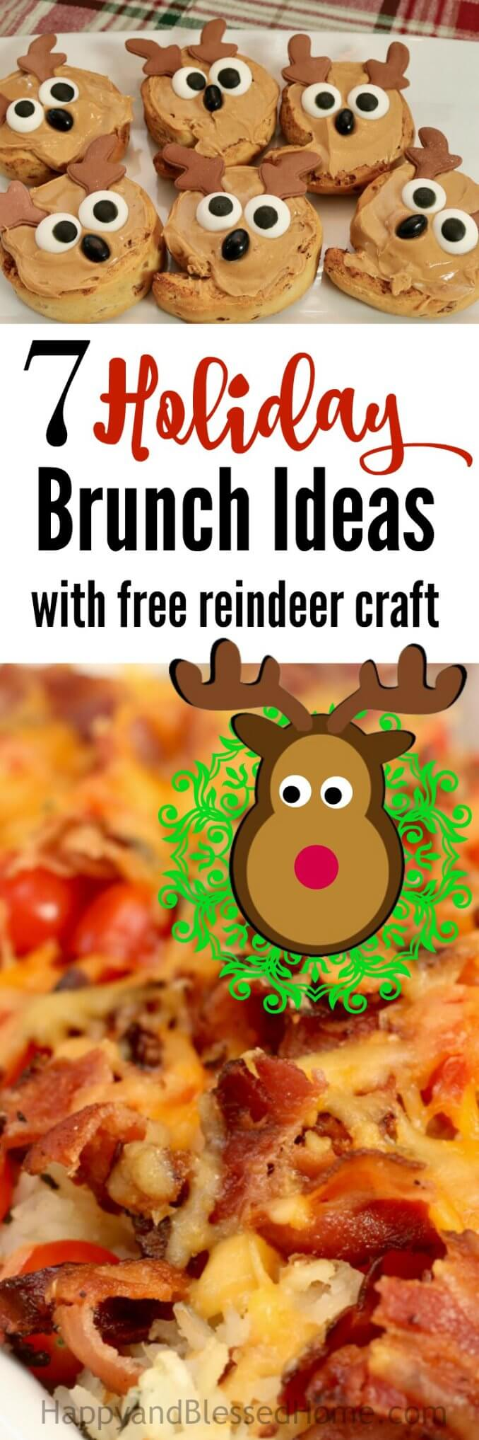 7 Holiday Brunch Ideas for Hosting a Brunch Party including hearty breakfast recipes, family fun activities, tips for making memories and easy clean up. Plus, a FREE reindeer craft for kids!