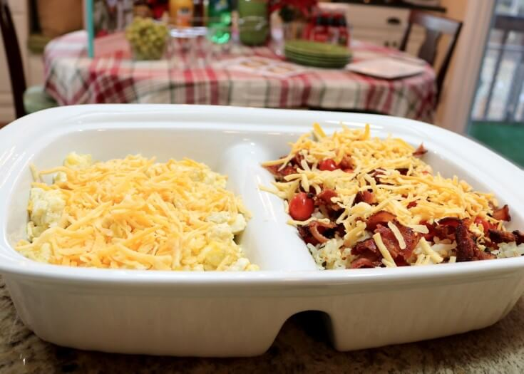 Cheesy Scrambled Eggs and Easy Recipe- Hash browns, Eggs and Bacon Breakfast Casserole