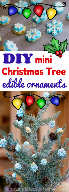 Easy recipe for DIY Mini Christmas Tree Ornaments - and they are edible!