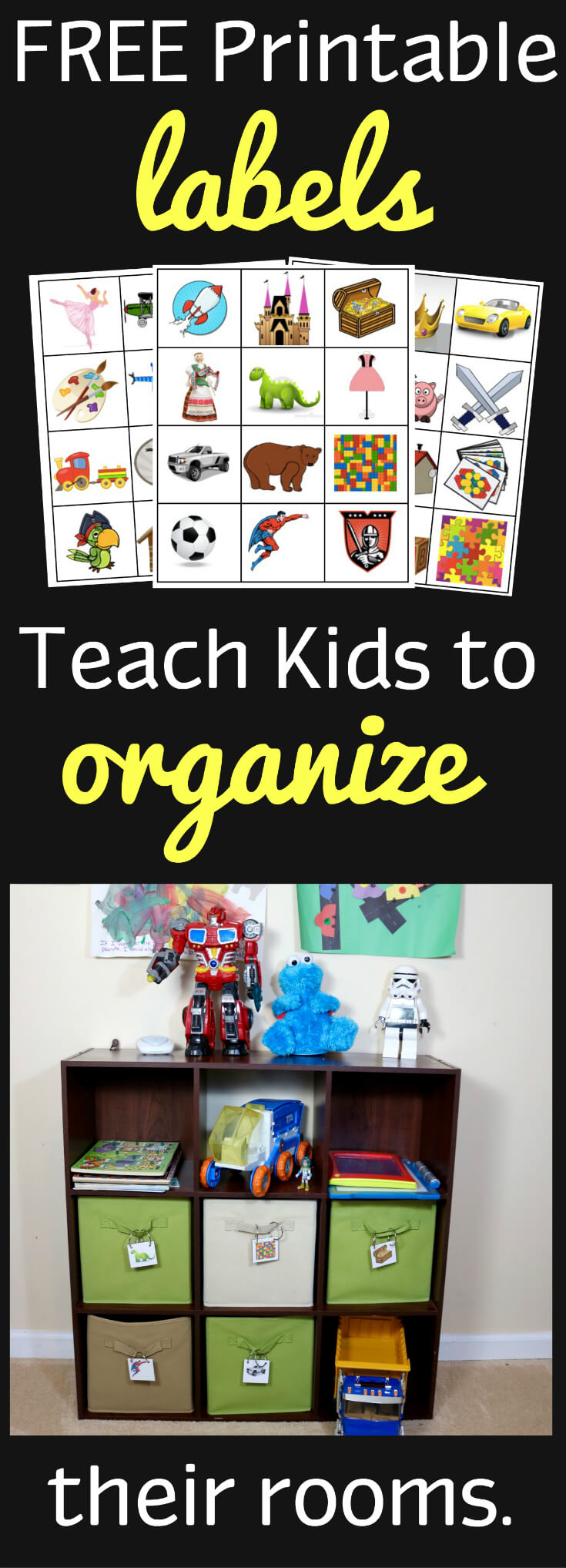 36 Labels to Organize Kids Rooms from HappyandBlessedHome.com