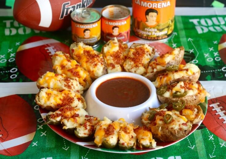 Football Food LA MORENA® Jalapeño Popper Twice Baked Potatoes with Chipotle Sauce