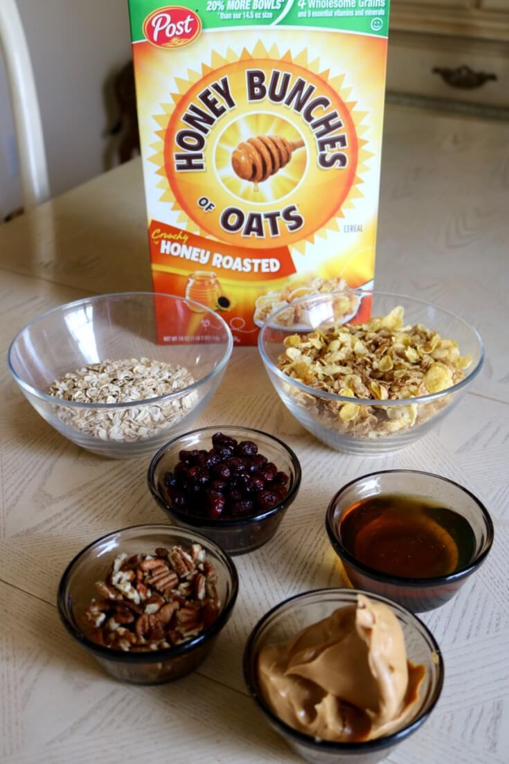 Ingredients for 6 Ingredient no bake cereal bars with Cranberries and Pecans