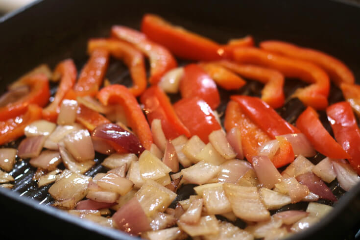 Pan Grilled Onions and Red Peppers are tasty