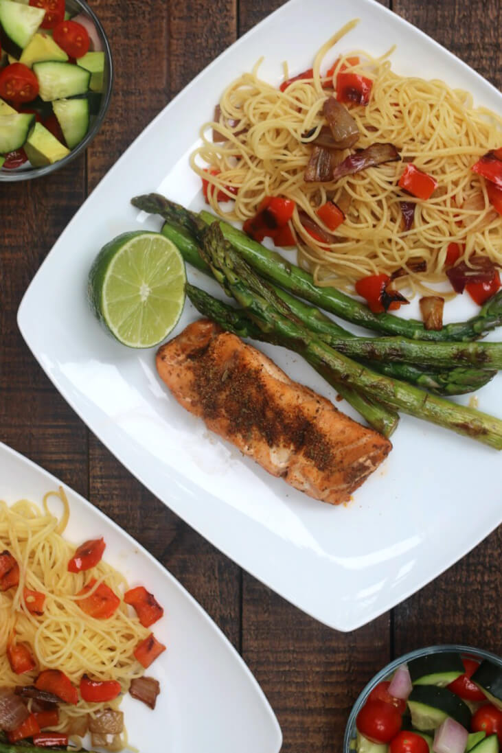 Pan Grilled Tequila Lime Grouper with Grilled Vegetables and Pasta