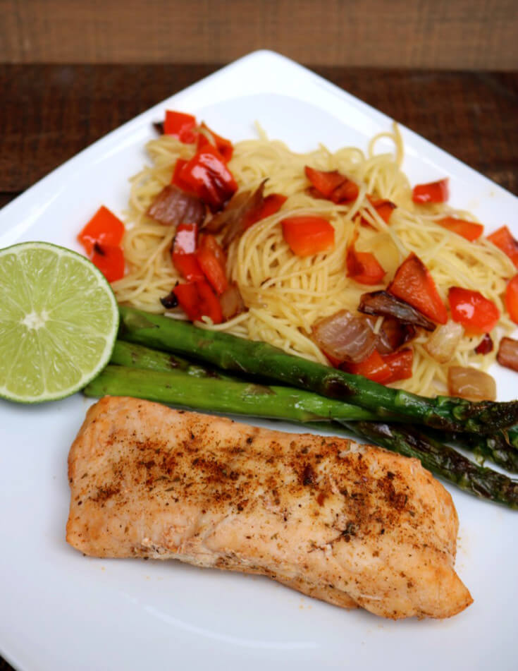 Pan Grilled Tequila Lime Grouper with Grilled Vegetables