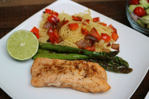 Tequila Lime Grouper with Grilled Vegetables and Angel Hair Pasta