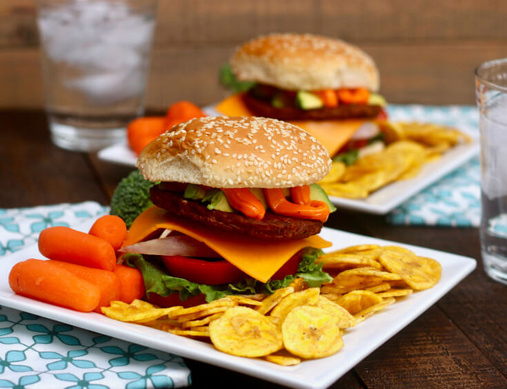 Veggie Burgers loaded with flavor - Black Bean Burgers and Sazon Mayo with Plantain Chips