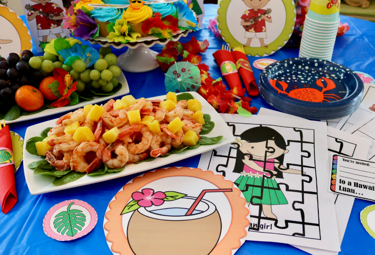 Pan Grilled Shrimp with Pineapple and a FREE 50 Page Party Pack for a Hawaiian Luau