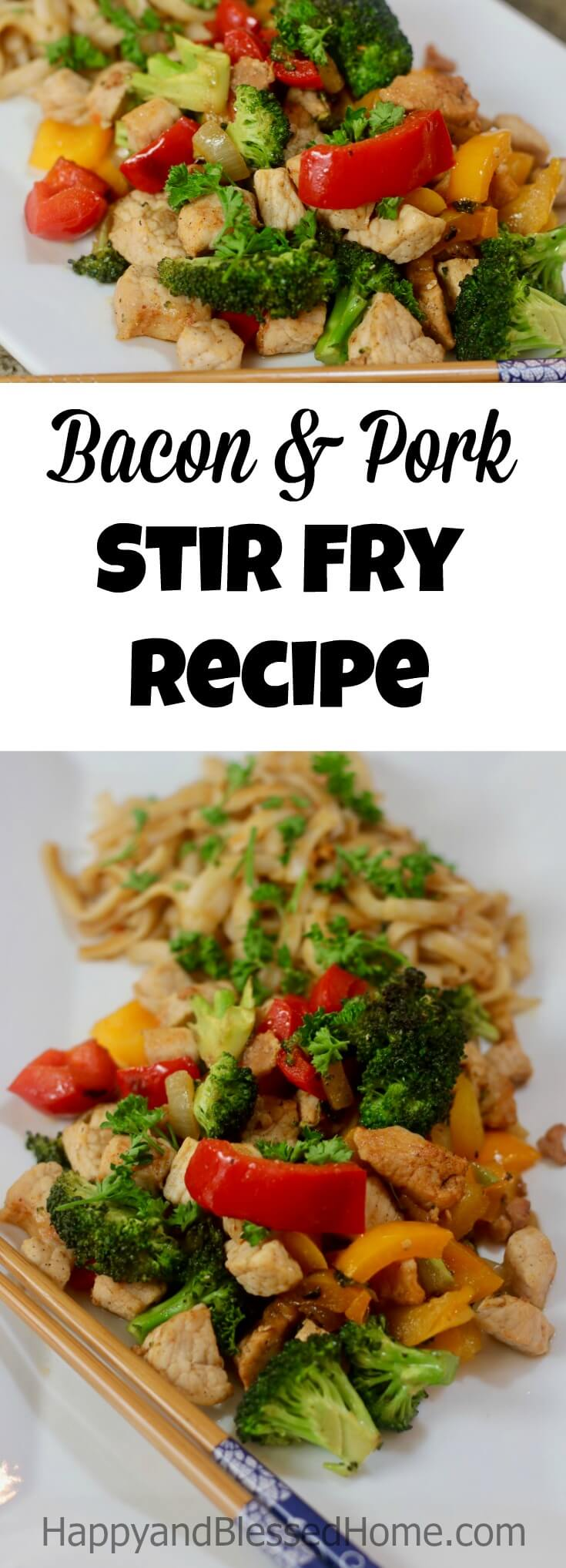 Easy Recipe Applewood Smoked Bacon and Pork Stir Fry Recipe