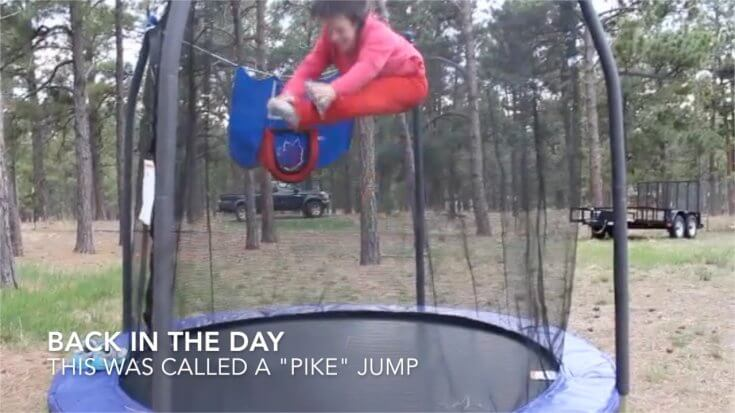 Mom over 40 Jumping on Trampoline