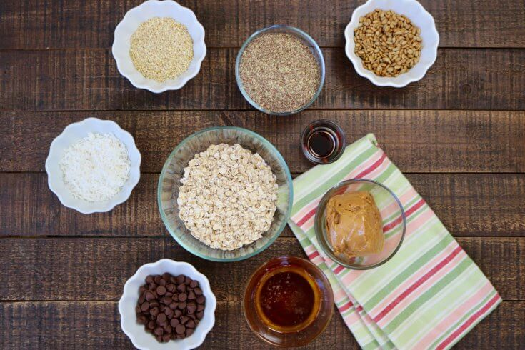 Ingredients for Chocolate Chip, Peanut Butter, Honey and Oat Energy Bites