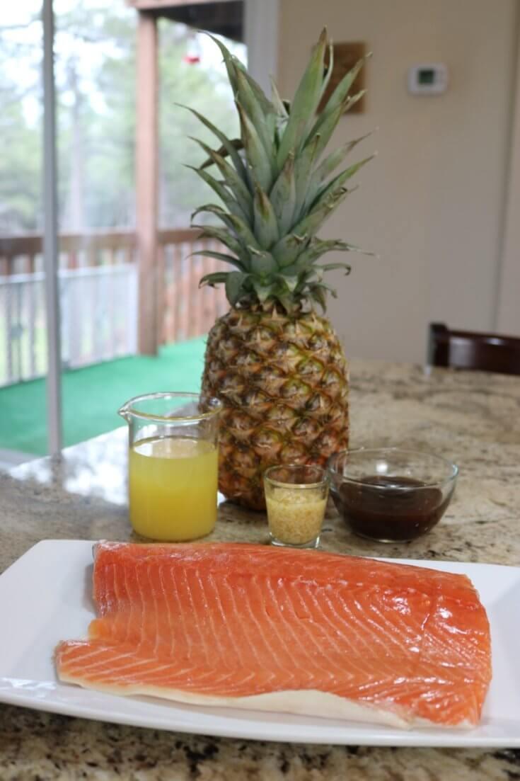 Ingredients for Wild Alaskan Teriyaki Pineapple and Garlic Salmon Recipe