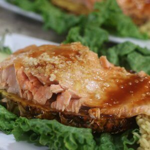 Easy Recipe for wild Alaska salmon with Teriyaki and Pineapple