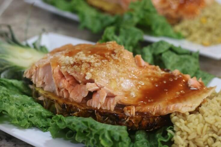 Serve this on a pineapple plank this High Quality Salmon Teriyaki and Pineapple Recipe with rice and tea