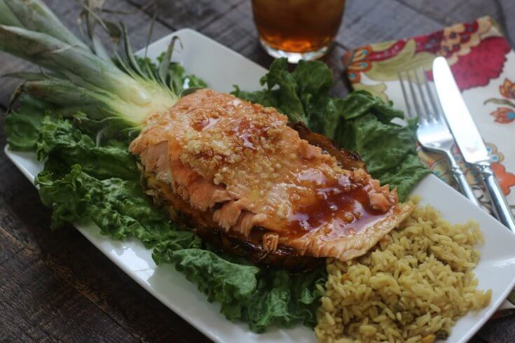 Served on a pineapple plank this High Quality Salmon Teriyaki and Pineapple Recipe pairs perfectly with rice