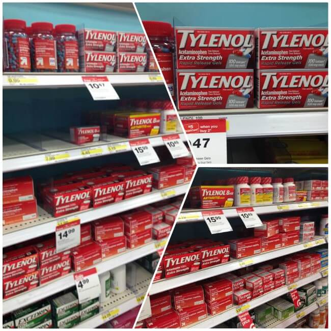 Tylenol can be found at Target