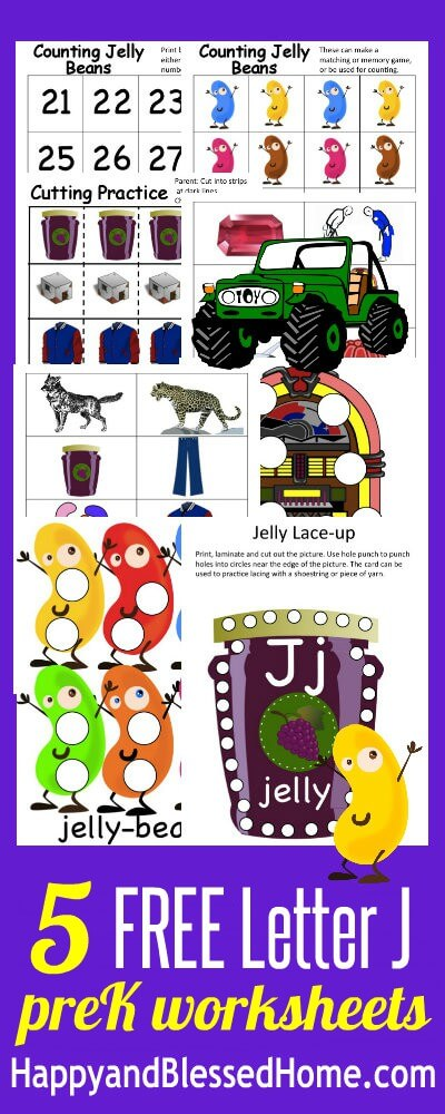 5 FREE Letter J Preschool Worksheets from HappyandBlessedHome.com