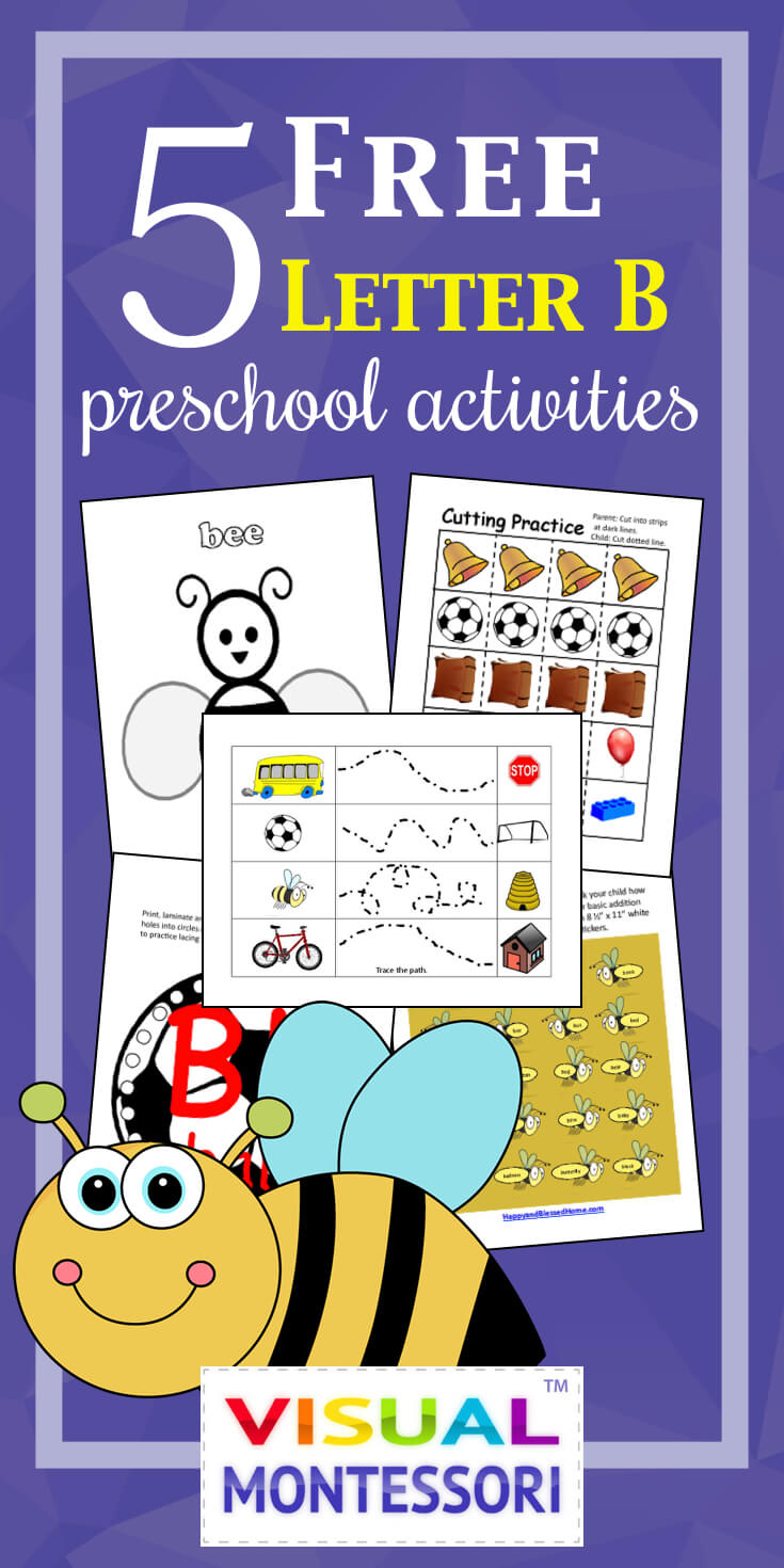 My preschooler loves these! Perfect learning fun for preK. 5 Free Preschool Alphabet Letter B Activities comes with coloring, matching, cutting, and fine motor skill exercises. You can easily teach children and toddlers with these easy crafts, cards, and words that start with