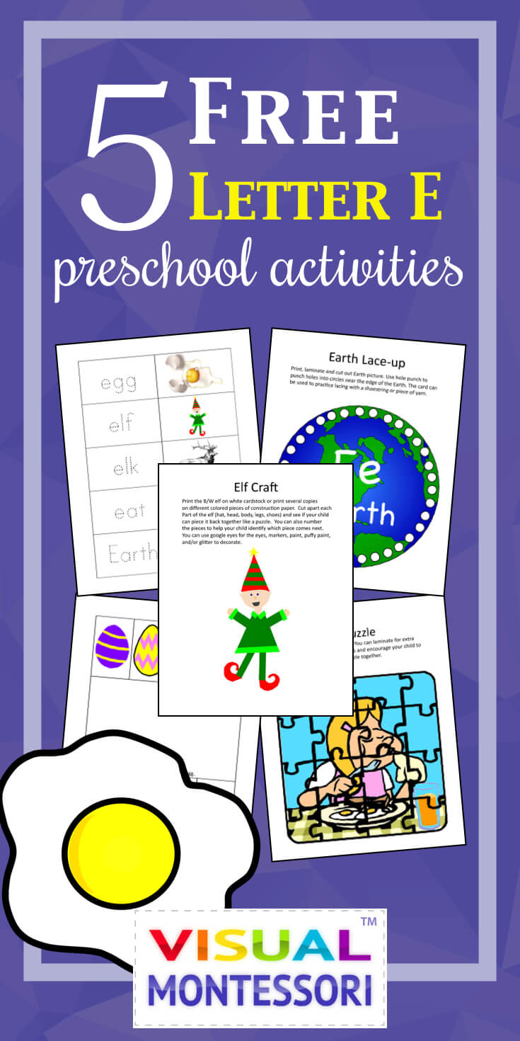 "My preschooler loves these! Perfect learning fun for preK. 5 Free Preschool Alphabet Letter E Activities comes with coloring, matching, cutting, and fine motor skill exercises. You can easily teach children and toddlers with these easy crafts, cards, and words that start with ""E""."