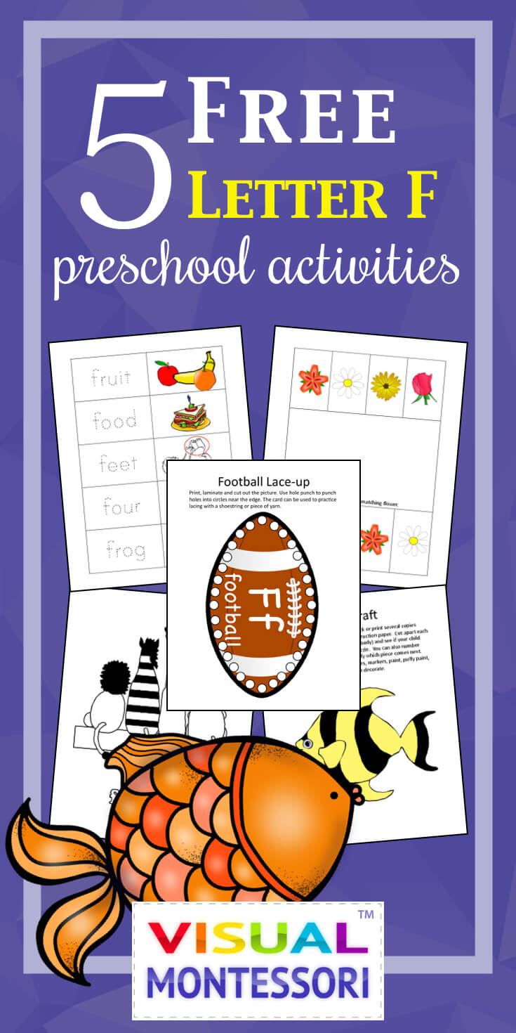 "My preschooler loves these! Perfect learning fun for preK. 5 Free Preschool Alphabet Letter F Activities comes with coloring, matching, cutting, and fine motor skill exercises. You can easily teach children and toddlers with these easy crafts, cards, and words that start with ""F""."