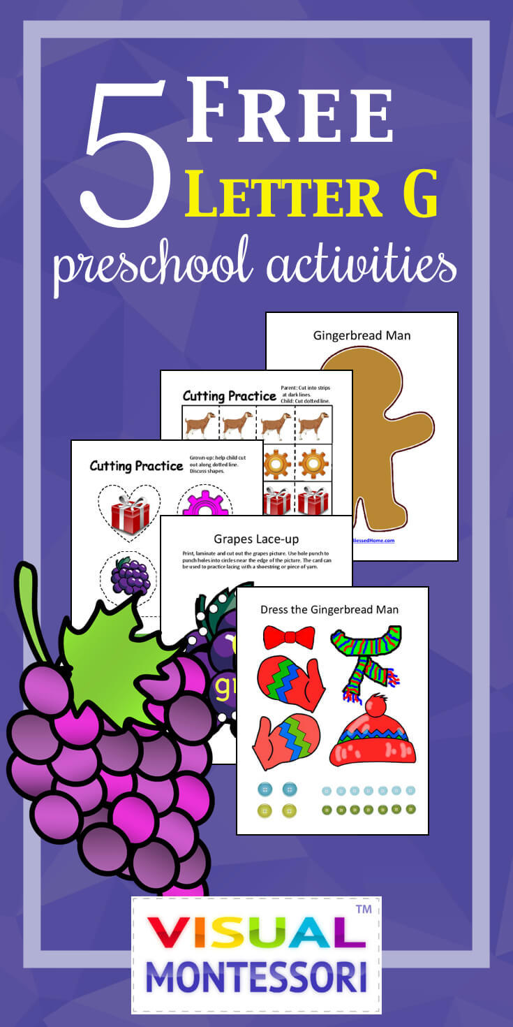 "My preschooler loves these! Perfect learning fun for preK. 5 Free Preschool Alphabet Letter G Activities comes with coloring, matching, cutting, and fine motor skill exercises. You can easily teach children and toddlers with these easy crafts, cards, and words that start with ""G""."