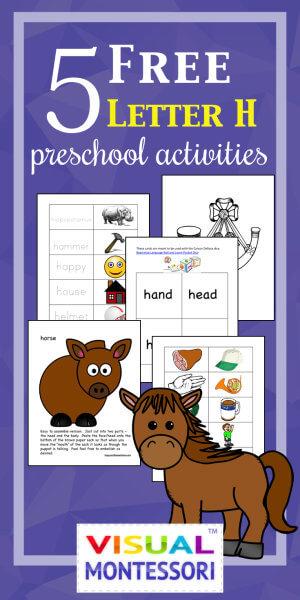 5 Free Preschool Alphabet Letter H Activities