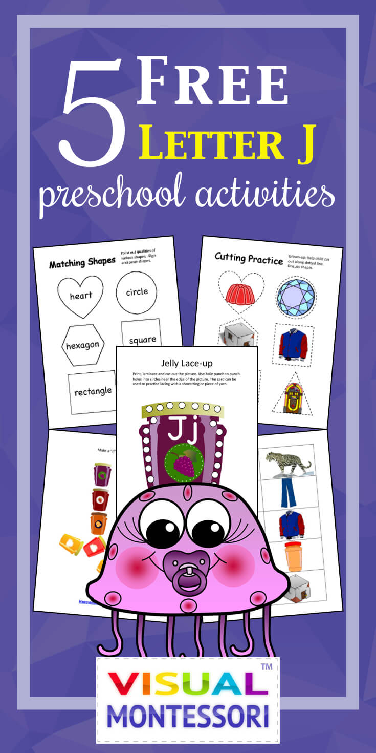 "My preschooler loves these! Perfect learning fun for preK. 5 Free Preschool Alphabet Letter J Activities comes with coloring, matching, cutting, and fine motor skill exercises. You can easily teach children and toddlers with these easy crafts, cards, and words that start with ""J""."