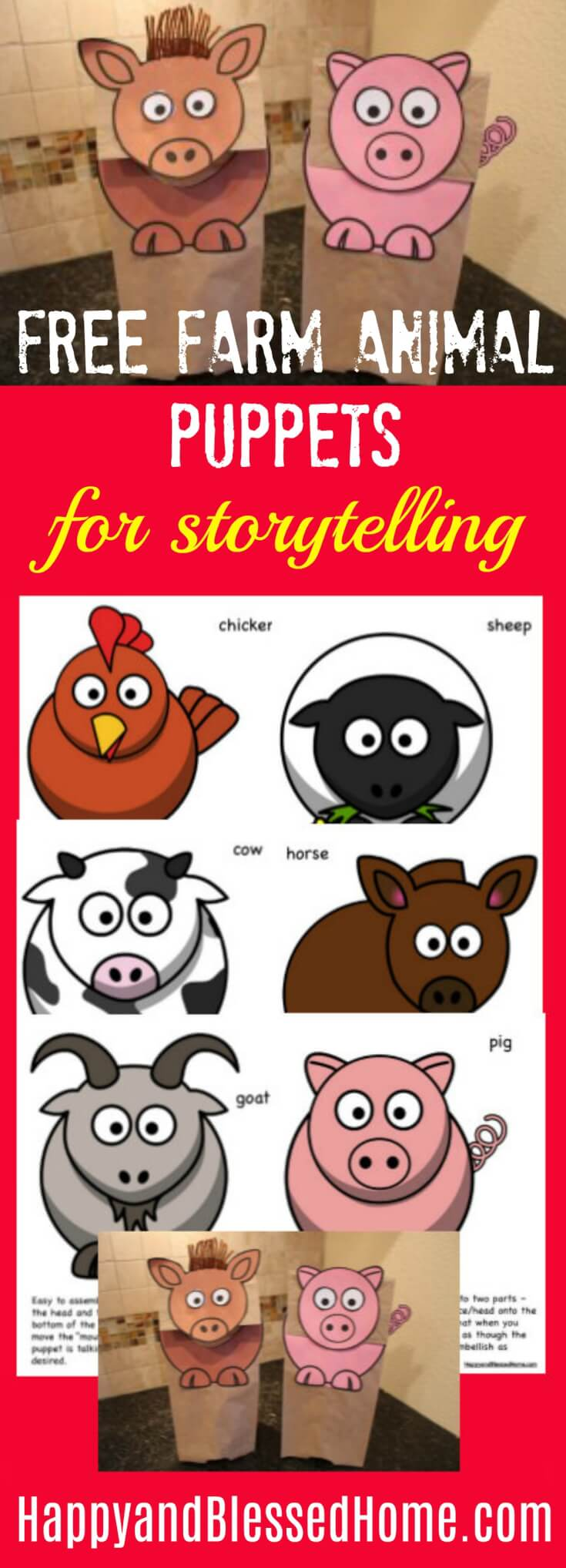 Adorable FREE Farm Animal Puppets for Storytelling with Toddlers or Preschool Aged Children