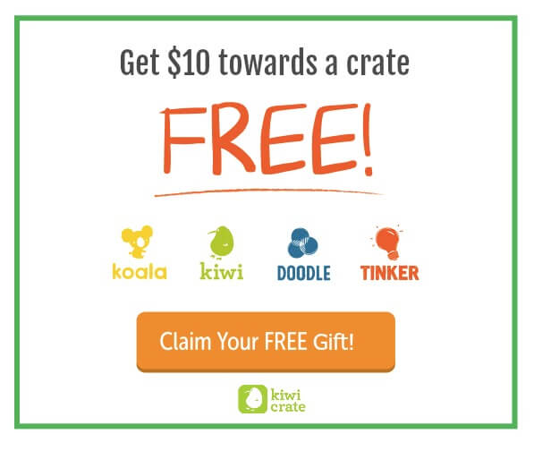 Get ten dollars towards a kids crate FREE from Kiwi Crate