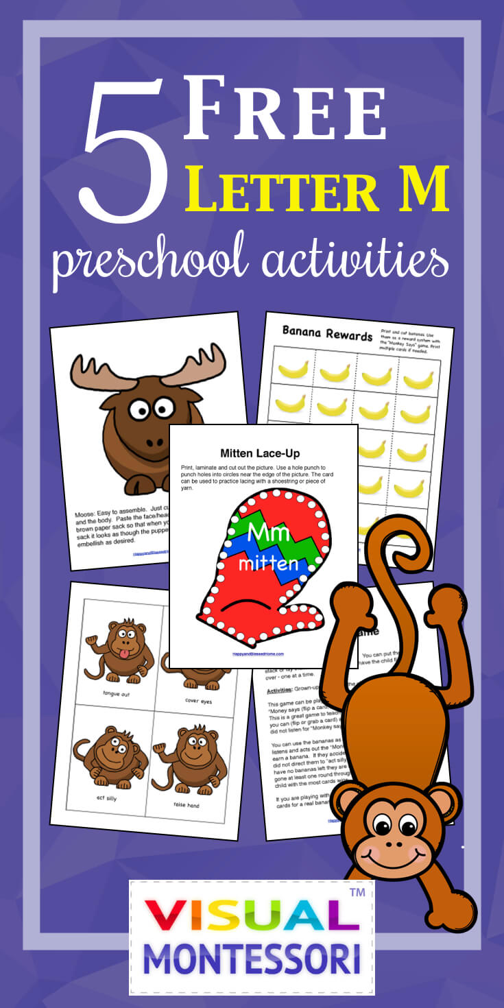 5 Free Letter M Worksheets for Visual Montessori