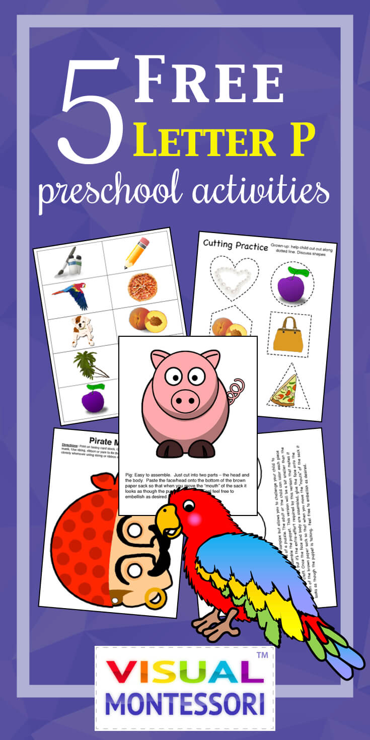 "My preschooler loves these! Perfect learning fun for preK. 5 Free Preschool Alphabet Letter P Activities comes with coloring, matching, cutting, and fine motor skill exercises. You can easily teach children and toddlers with these easy crafts, cards, and words that start with ""P""."