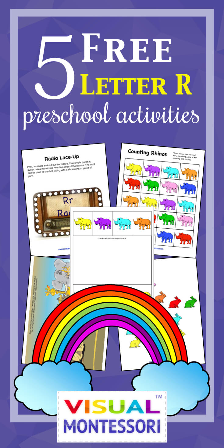 "My preschooler loves these! Perfect learning fun for preK. 5 Free Preschool Alphabet Letter R Activities comes with coloring, matching, cutting, and fine motor skill exercises. You can easily teach children and toddlers with these easy crafts, cards, and words that start with ""R""."
