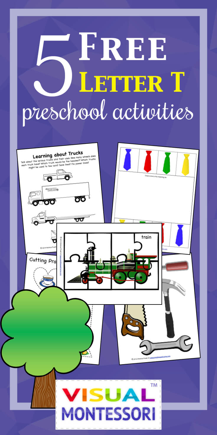 "My preschooler loves these! Perfect learning fun for preK. 5 Free Preschool Alphabet Letter T Activities comes with coloring, matching, cutting, and fine motor skill exercises. You can easily teach children and toddlers with these easy crafts, cards, and words that start with ""T""."