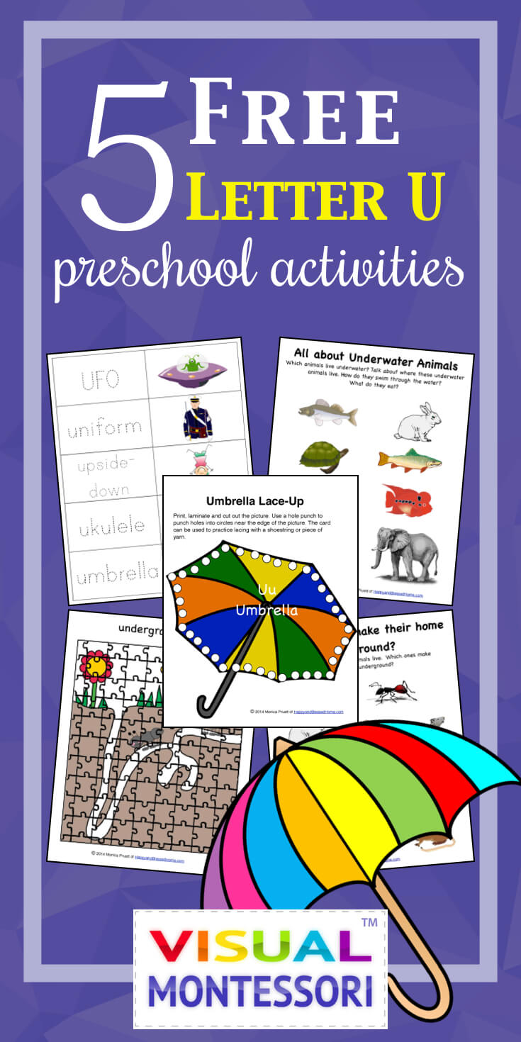"My preschooler loves these! Perfect learning fun for preK. 5 Free Preschool Alphabet Letter U Activities comes with coloring, matching, cutting, and fine motor skill exercises. You can easily teach children and toddlers with these easy crafts, cards, and words that start with ""U""."