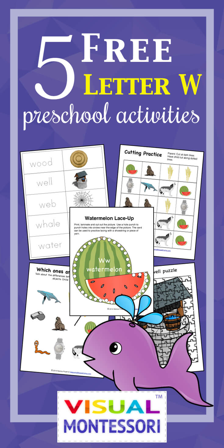 "My preschooler loves these! Perfect learning fun for preK. 5 Free Preschool Alphabet Letter W Activities comes with coloring, matching, cutting, and fine motor skill exercises. You can easily teach children and toddlers with these easy crafts, cards, and words that start with ""W""."